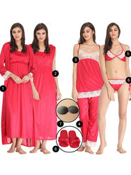 Pack Of 8 Clovia Solid Satin & Lace Nightwear -Combova17