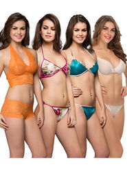 Pack Of 4 Clovia Nylon  & Satin Rich  Cotton Lycra Solid Bra & Panty -Comnaap03