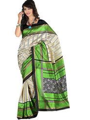 Carah Art Silk Printed Saree - Cream And Green