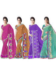 Combo of 4 Adah Fashions Emboridered PolyCotton Multicolor Saree- ad03