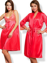 Set of 2 Clovia Blended Plain Nightwear - Reddish Pink