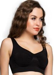 Clovia 92% Nylon-8% Spandex Plain Bra - Black