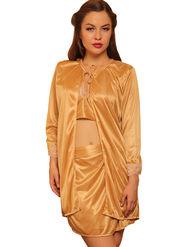 Clovia Satin Rich Plain Nightwear - Skin Color