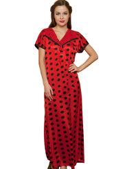 Clovia Satin-Nylon Lace Plain Nightwear - Red