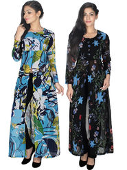 Pack of 2 Arisha Printed Georgette Front Open Kurtis -ars188