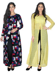Pack of 2 Arisha Printed Georgette & Plain Net Front Open Kurtis -ars193