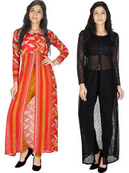 Pack of 2 Arisha Printed Georgette & Plain Net Front Open Kurtis  -ars199