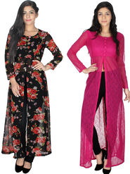 Pack of 2 Arisha Printed Georgette & Plain Net Front Open Kurtis-ars203