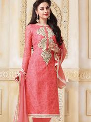 Viva N Diva Semi Stitched Banarasi Chanderi Embroidered Suit Color-Blossom-03-1041