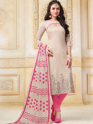 Viva N Diva Semi Stitched Banarasi Chanderi Embroidered Suit  Color-Blossom-03-1048