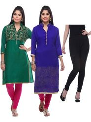 Combo of 3 Lavennder Woolen Green Blue Kurtis & Black Legging -lvn07