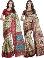 Pack of 2 Printed Taffeta Saree-swb13