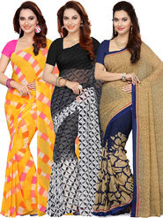 Combo of  3 Ishin Printed Faux Georgette Women's Sarees -is03