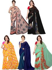 Combo of  5 Ishin Printed Faux Georgette Women's Sarees -is01