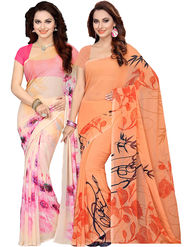 Combo of 2 Ishin Printed Faux Georgette Multicolor Saree-Com1126