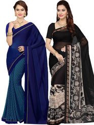 Combo of 2 Ishin Printed Faux Georgette Multicolor Saree-Com1163