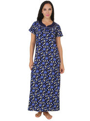 Fasense Shinker Cotton Floral Print Nightwear Long Nighty -DP159C1