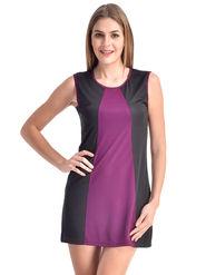 Arisha Viscose Solid Dress DRS1067_Prpl-Blk
