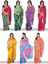 Set of 7 Damini Georgette Sarees (7G4)
