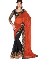 Designersareez Faux Georgette Embroidered Saree - Orange & Black