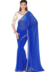 Designersareez Faux Georgette Embroidered Saree - Blue - 1791
