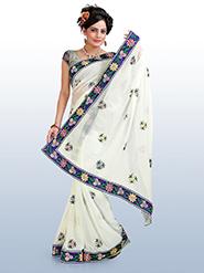 Embroidered Chiffon Saree - White-1046