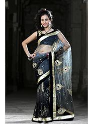 Embroidered Net Saree - Black / Grey