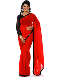 Designer Sareez Plain Faux Georgette Saree - Red-1443