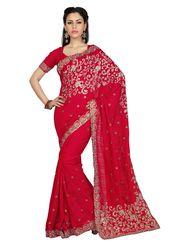 Designer Sareez Bhagalpuri Silk Embroidered Saree - Maroon - 1575