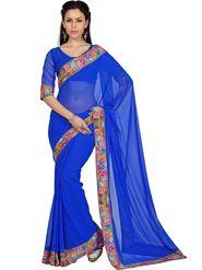 Designer Sareez Faux Georgette Printed Saree - Blue - 1593