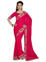 Designer Sareez Faux Georgette Printed Saree - Tomato Red - 1608