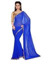 Designer Sareez Faux Georgette Embroidered Saree - ROYAL BLUE - 1613
