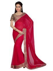 Designer Sareez Faux Georgette Embroidered Saree - Red - 1622