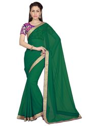 Designer Sareez Faux Georgette Embroidered Saree - Teal Green - 1627