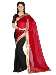 Designer Sareez Chiffon Embroidered Saree - Red & Black - 1647