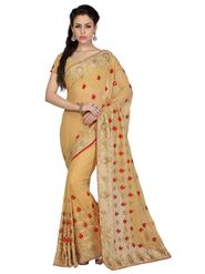 Designer Sareez Faux Georgette Embroidered Saree - Beige - 1665