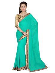 Designer Sareez Chiffon Embroidered Saree - Teal Green - 1712