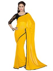 Designer Sareez Chiffon Embroidered Saree - Yellow - 1720