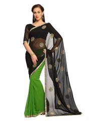 Designer Sareez Faux georgette Embroidered Saree - Black and Green