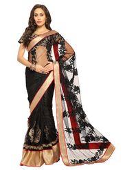 Designer Sareez Net Embroidered Saree - Black-1455