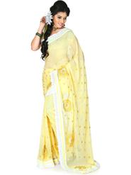 Designersareez Embroidery Chiffon Saree - Light Yellow-1215