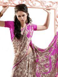 Ethnic Trend Chiffon Printed Saree - Multicolour - 11035