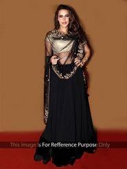 Ethnic Trend Net - Georgette Embroidered Lehenga - Black