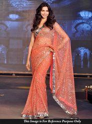 Ethnic Trend Net Embroidered Saree - Orange - 390