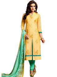 Fabfiza Embroidered Cotton Semi Stitched Salwar Suit_FB-5085