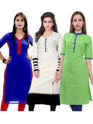 Combo Of 3 Fabfiza Embroidered Poly Cotton White Blue & Green Kurti -fb05