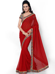 Florence Embroidered Faux Georgette  Saree -FL-11757