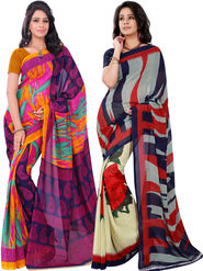Pack of 2 Florence Printed Faux Georgette Saree -fs08