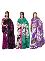 Pack of 3 Florence Printed Faux Georgette Sarees fs01
