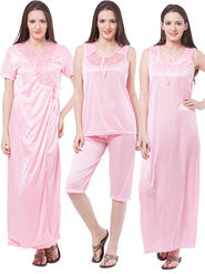 Pack of 4 Fasense Satin Plain Nightwear - DP117 B